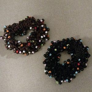 2 beaded scrunchies